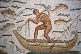 fishing boat stock photography | Tunisia, Tunis, Bardo Museum, Roman mosaic, image id 3-1100-91