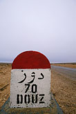 road sign stock photography | Tunisia, Milestone, Douz, image id 3-1100-94