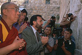landmark stock photography | Israel, Jerusalem, Dalai Lama and Rabbi David Rosen at Western Wall, image id 9-340-18