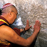 kippot stock photography | Israel, Jerusalem, Dalai Lama at Western Wall, image id 9-340-22