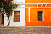 heritage stock photography | Uruguay, Colonia del Sacramento, Orange and white painted historic facades, image id 8-802-4425