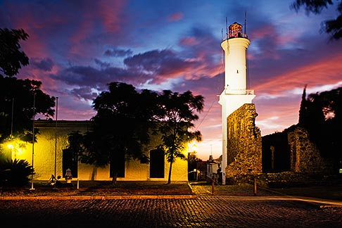 image 8-802-4469 Uruguay, Colonia del Sacramento, Colorful sunset and Colonia lighthouse
