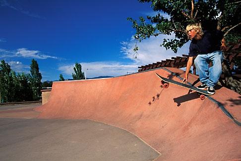 image 6-219-6 Recreation, Skateboarder in quarter pipe