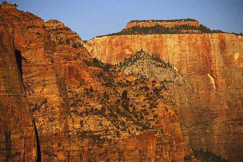 image 3-870-4 Utah, Zion National Park, West Temple from Canyon Overlook