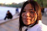 lakeside stock photography | Vietnam, Hanoi, Young Lady, Hoan Kiem Lake, image id S3-194-10