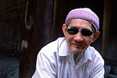 head covering stock photography | Vietnam, Hanoi, Old Man, Van Mieu - Quoc Tu Giam (Temple of Literature), image id S3-194-12