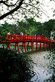 on foot stock photography | Vietnam, Hanoi, Huc Bridge, Hoan Kiem Lake, image id S3-194-25