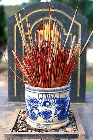 image S3-194-9 Vietnam, Dien Bien Phu, Incense and Tombstone, Cemetery
