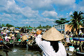 head covering stock photography | Vietnam, Mekong Delta, Floating Market, image id S3-197-1