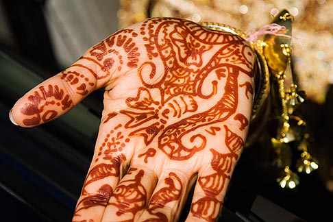 image 6-455-7023 Weddings, Indian wedding, brides hand decorated with henna