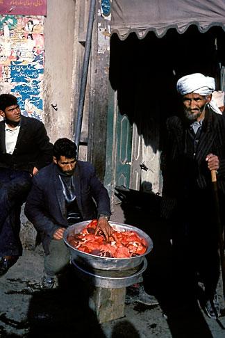 image 0-0-93 Afghanistan, Street scene with meat vendor, Herat
