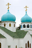 domed roofs stock photography | Alaska, Kodiak, Holy Resurrection Russian Orthodox Church, image id 5-650-1013
