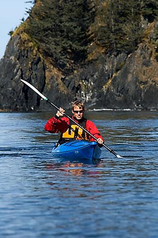 image 5-650-1237 Alaska, Kodiak, Kayaking in Monashka Bay