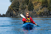 carefree stock photography | Alaska, Kodiak, Kayaking in Monashka Bay, image id 5-650-1244