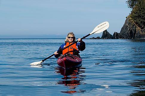 image 5-650-1262 Alaska, Kodiak, Kayaking in Monashka Bay