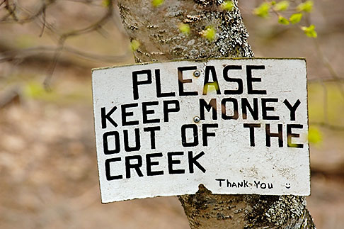 image 5-650-3194 Alaska, Anchorage, Please keep money out of the creek