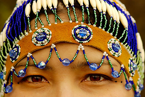 5-650-3435  stock photo of Alaska, Anchorage, Alaskan Native woman with beaded headdress