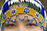 closeup portrait stock photography | Alaska, Anchorage, Alaskan Native woman with beaded headdress, image id 5-650-3435
