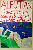 sign stock photography | Alaska, Kodiak, Aleutian Kayak Tours poster, image id 5-650-3880