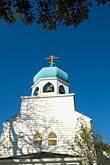 domed roofs stock photography | Alaska, Kodiak, Holy Resurrection Russian Orthodox Church, image id 5-650-4304