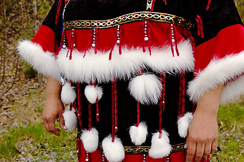 image 5-650-608 Alaska, Anchorage, Feathered Alaskan native dress