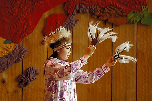 image 5-650-638 Alaska, Anchorage, Yupik dancer, Alaskan Native Heritage Center