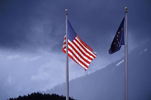 image 7-198-6 Alaska, Petersburg, United States and Alaska flags