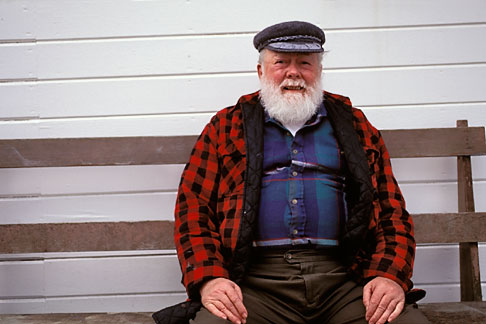 image 7-224-15 Alaska, Petersburg, Old man seated on bench
