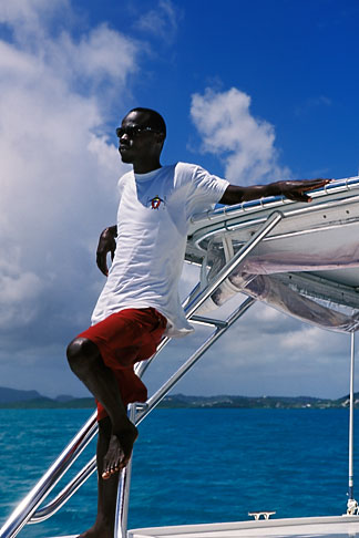 image 4-601-31 Antigua, Man on Sailboat