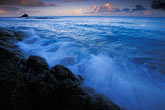 tranquil stock photography | Antigua, Hawksbill Beach, surf and rocks at dawn, image id 4-602-52