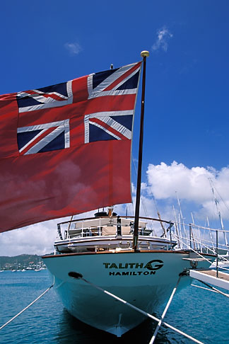 image 4-603-55 Antigua, English Harbor, Flag on boat in harbor