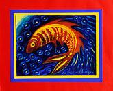 blue stock photography | Art, Nancy Nicholson, Fish painting, image id 4-604-76