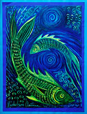 green stock photography | Art, Nancy Nicholson, Two Fish painting, image id 4-604-77