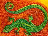 caribbean stock photography | Art, Nancy Nicholson, Green lizard painting, image id 4-604-80