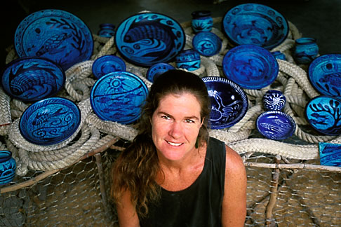 image 4-604-99 Antigua, Pigeon Point Pottery, Ceramics by Nancy Nicholson