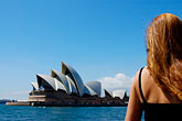 one woman only stock photography | Australia, Sydney, Sydney Opera House from ferry, image id 5-600-1491