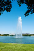 vertical stock photography | Australia, Canberra, Lake Burley Griffin, Fountain, image id 5-600-1635