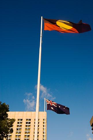 image 5-600-2348 Australia, Adelaide, Flags of Australia and Aboriginal People