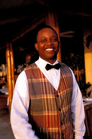 image 3-490-58 Barbados, Holetown, Hotel waiter, smiling