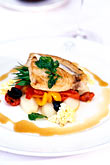 garnish stock photography | Food, Grilled loin of swordfish, image id 3-493-40