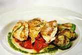 evening meal stock photography | Food, Grilled mahi-mahi with zucchini and a peperonata sauce, red onions and basil oil, image id 3-494-14