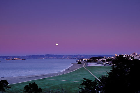 image 1-140-1 California, San Francisco, Moonrise over Crissy Field
