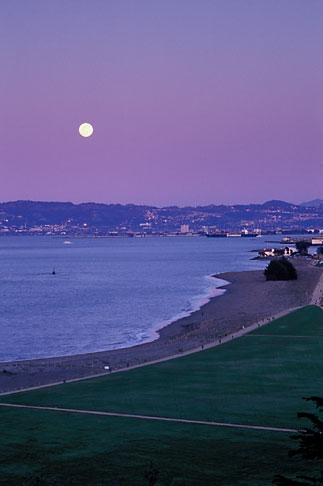 image 1-140-60 California, San Francisco, Moonrise over Crissy Field
