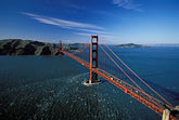 suspension bridge stock photography | California, San Francisco Bay, Aerial view of Golden Gate Bridge, image id 1-301-36