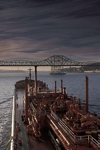 image 1-490-1 California, San Francisco Bay, Tanker Gaz Master approaching Carquinez Bridge