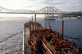 "maritime stock photography | California, San Francisco Bay, Tanker ""Gaz Master"" approaching Carquinez Bridge, image id 1-490-10"