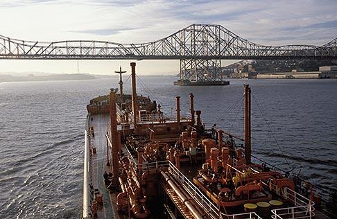 image 1-490-9 California, San Francisco Bay, Tanker Gaz Master approaching Carquinez Bridge