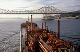 "usa stock photography | California, San Francisco Bay, Tanker ""Gaz Master"" approaching Carquinez Bridge, image id 1-490-9"