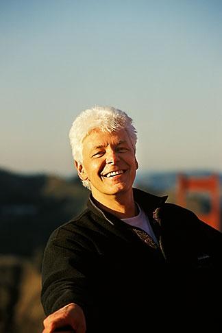 image 1-62-19 California San Francisco, Man on top of Golden Gate Bridge