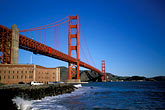 suspension bridge stock photography | California, San Francisco, Golden Gate Bridge from Fort Point, image id 1-62-85